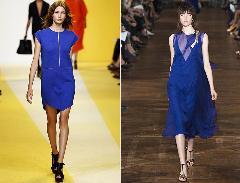 синее платье лето