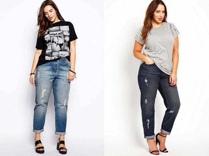 с чем носить джинсы бойфренды полным