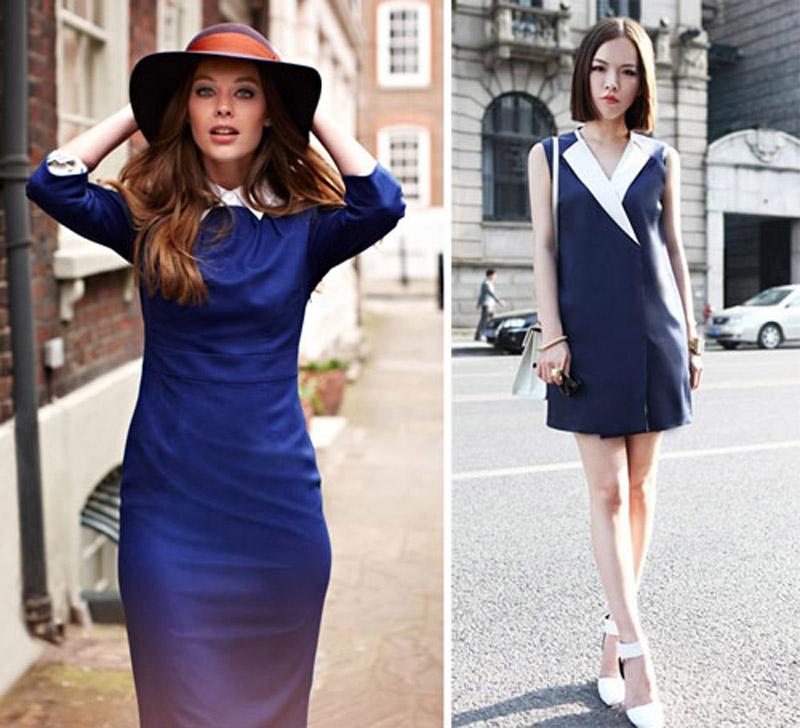 белые туфли и синее платье 2017