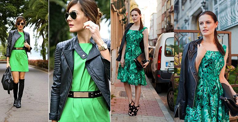 какая обувь под зеленое платье