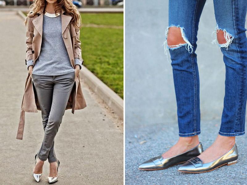 с чем носить серебряные туфли