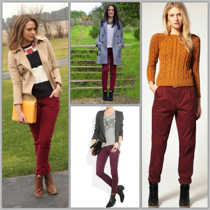 бордовые джинсы с чем носить