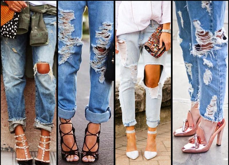 мода на укороченные джинсы