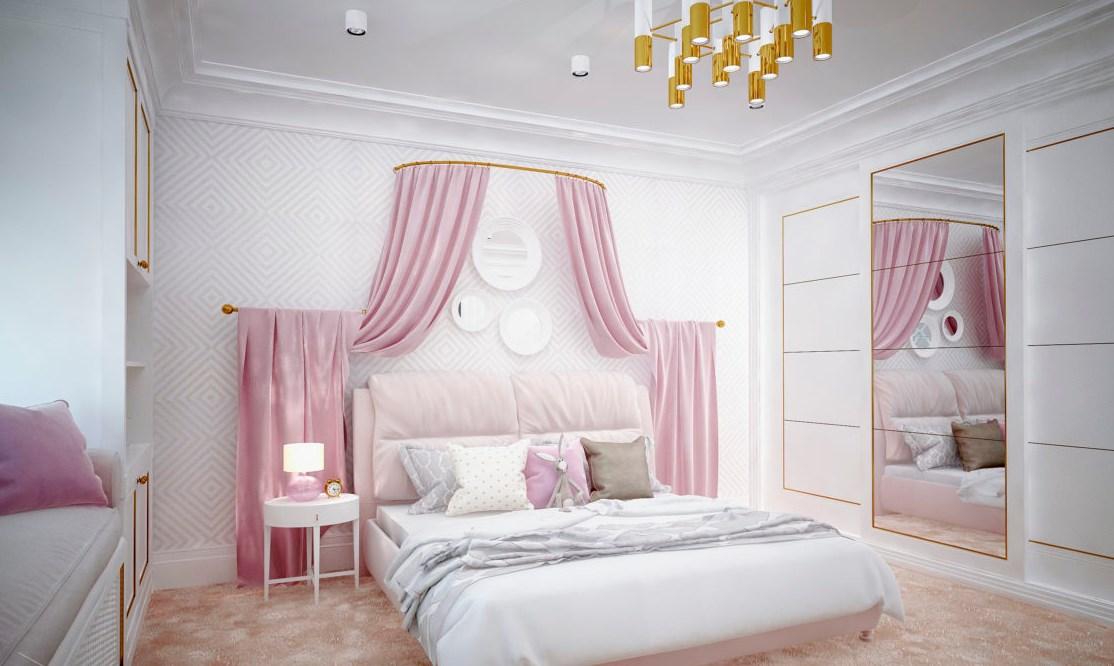 Дизайн интерьра в детской для малелькой принцесы